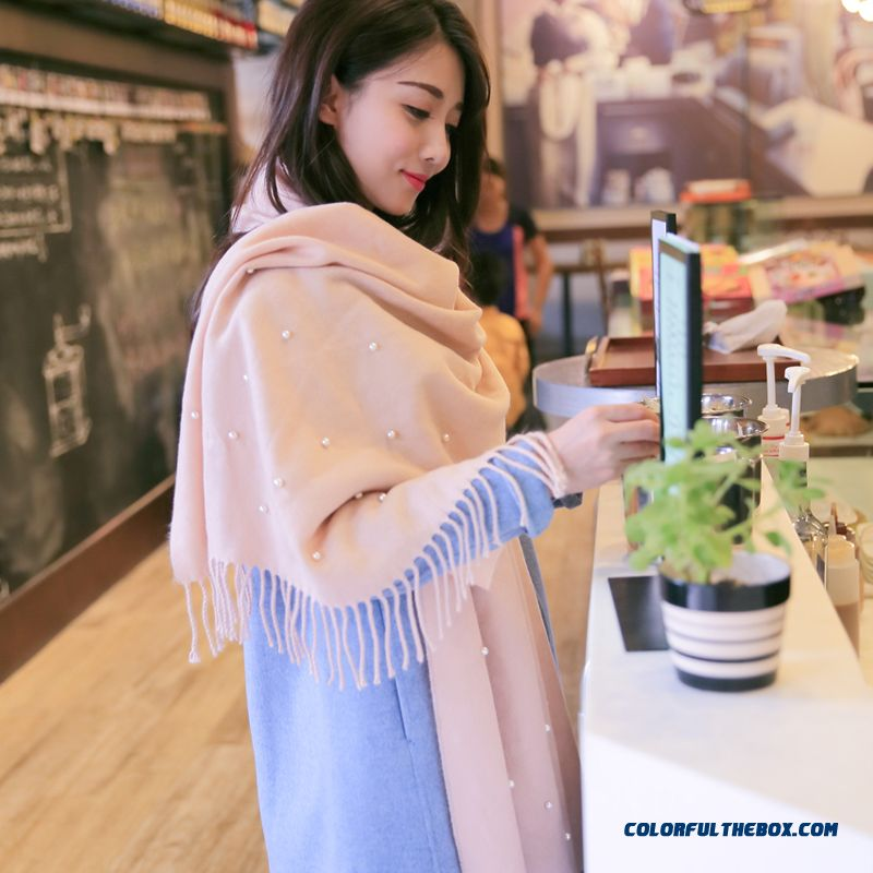 Sweet Women Accessories Solid Color Joker Scarf Nail Bead Knitting Wool Spodoptera Warm Scarves