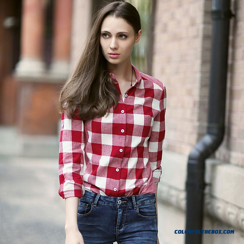 Symmetrical Grid Slim All-match Cotton Long-sleeved Plaid Shirt Ultra-fine Texture Wome Blouse