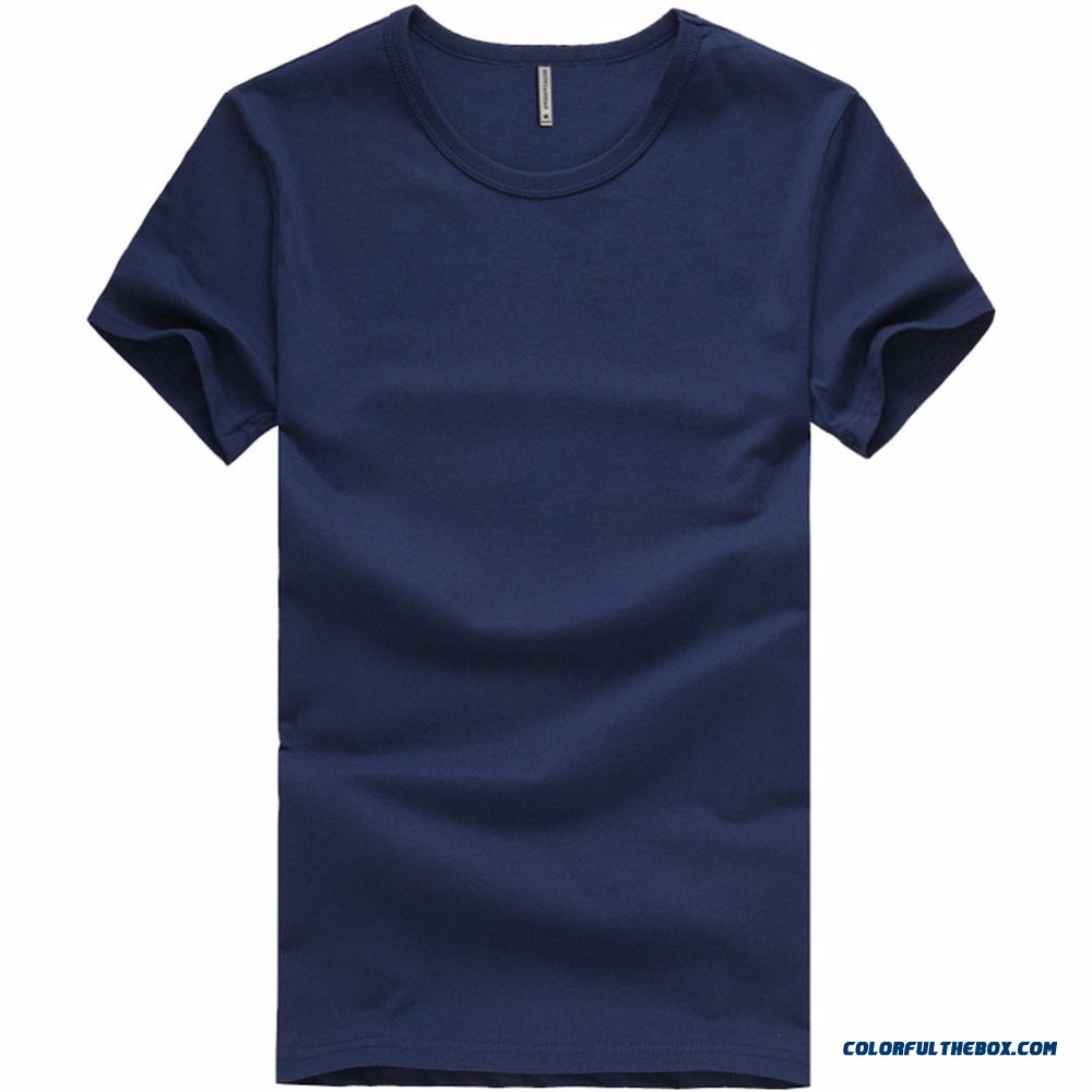 T Shirt Men Solid O-neck Short Sleeve Tshirt Homme