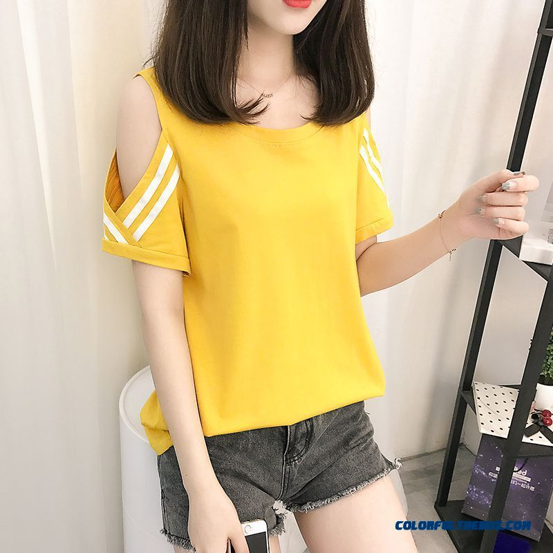 T-shirt 2019 Coat New Loose Half Sleeve Europe Short Sleeve Summer T-shirt Trend Stripes Cotton Yellow Pure Women's Ultra