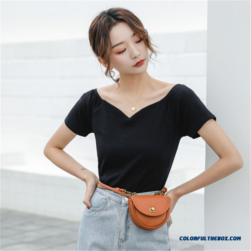T-shirt 2019 Trend Women's Strapless Summer Coat White New Products Slim Black Cotton Short Sleeve