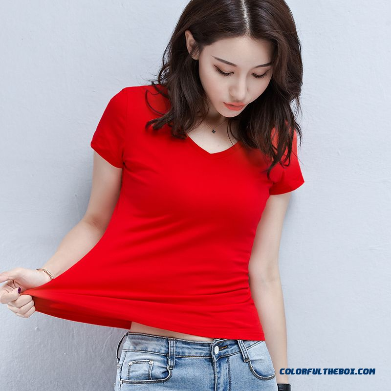 T-shirt 2019 V-neck Summer Slim Women's Short Sleeve Coat Thin Cotton Big New Pure T-shirt Red Half Sleeve