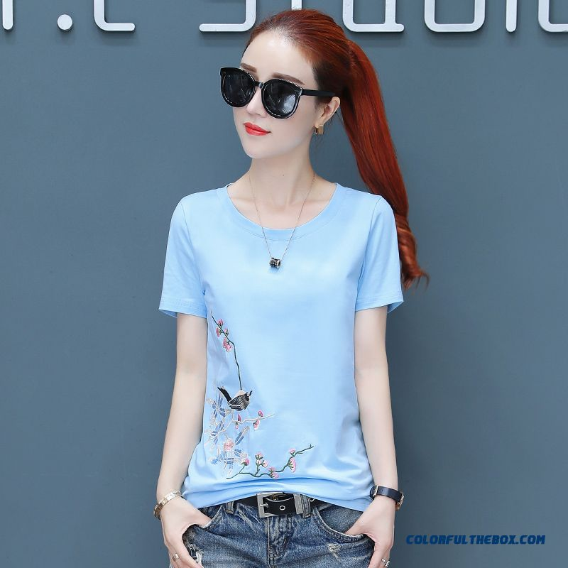 T-shirt Bottoming Shirt Europe Slim Short Sleeve T-shirt Summer Pure 2019 Blue New Fashion Thin Women's Embroidered Coat Cotton
