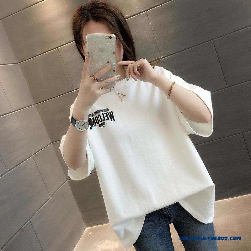 T-shirt Coat Summer Loose Europe Short Sleeve All-match T-shirt New Bottoming Shirt Half Sleeve Women's Trend 2019 Lady White