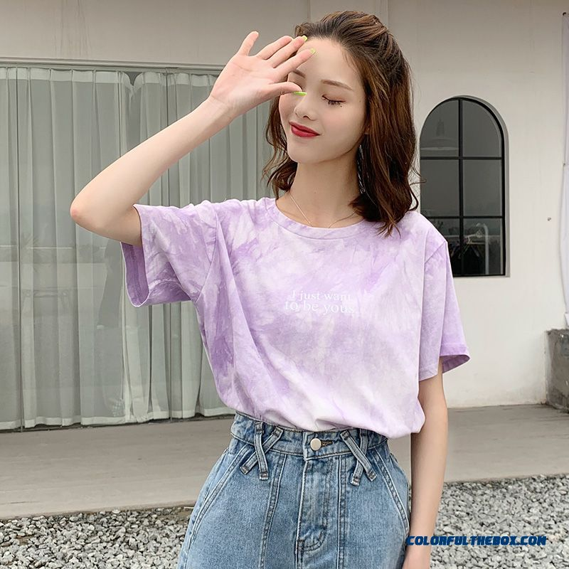 T-shirt Cotton Ultra Pure Coat T-shirt New 2019 Summer Women's Europe Gradient Short Sleeve All-match Loose Purple Trend