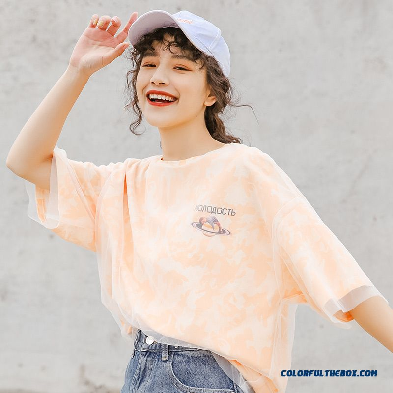 T-shirt Europe Coat 2019 New Products T-shirt Trend Loose Summer Net Yarn Women's Short Sleeve Popular