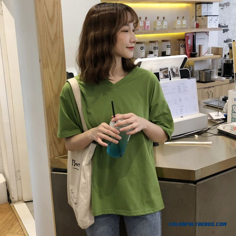 T-shirt Europe New Women's Bottoming Shirt Coat All-match Student Spring 2019 Loose Short Sleeve Military Green Pure