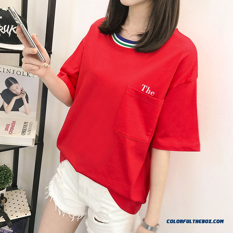 T-shirt Europe Short Sleeve Red Summer Coat 2019 Trend Big T-shirt Women's Cotton Loose New Pure