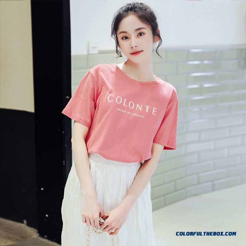 T-shirt Europe Women's Pink Red Summer Coat Pure New Trend Cotton T-shirt Loose 2019 Short Sleeve