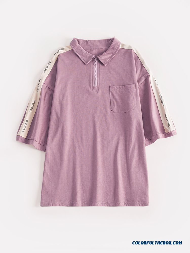 T-shirt New Europe Student 2019 T-shirt Coat Half Sleeve Women's Short Sleeve Summer Pink Loose Polo