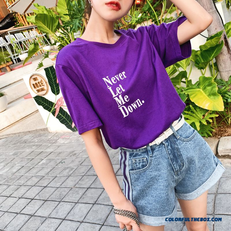 T-shirt New Loose Short Sleeve Summer T-shirt Girl Purple Women's Green 2019 Europe Coat