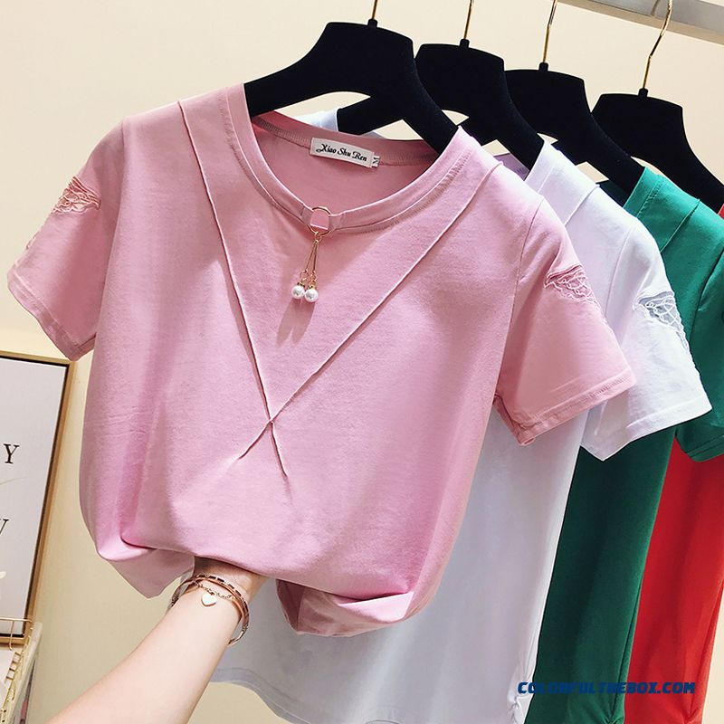 T-shirt New Red Pure Short Sleeve Women's Summer 2019 Embroidered Coat Europe Ultra T-shirt Cotton Loose Pink Half Sleeve