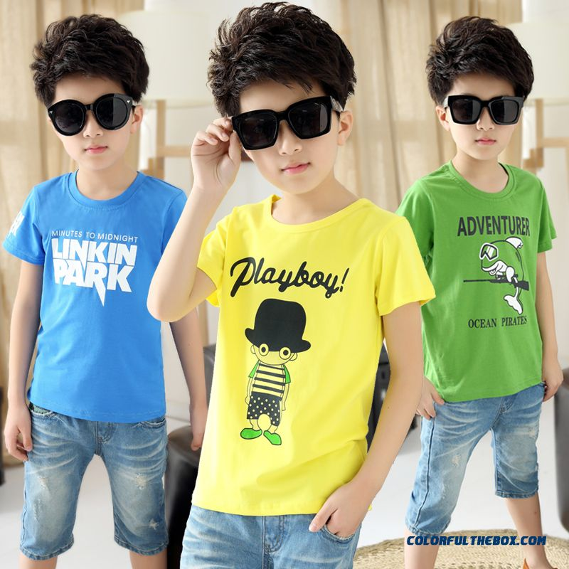 T-shirt Older Kids Round Neck Short-sleeve T-shirts 2016 Summer Children Comfortable Clothing For Boys