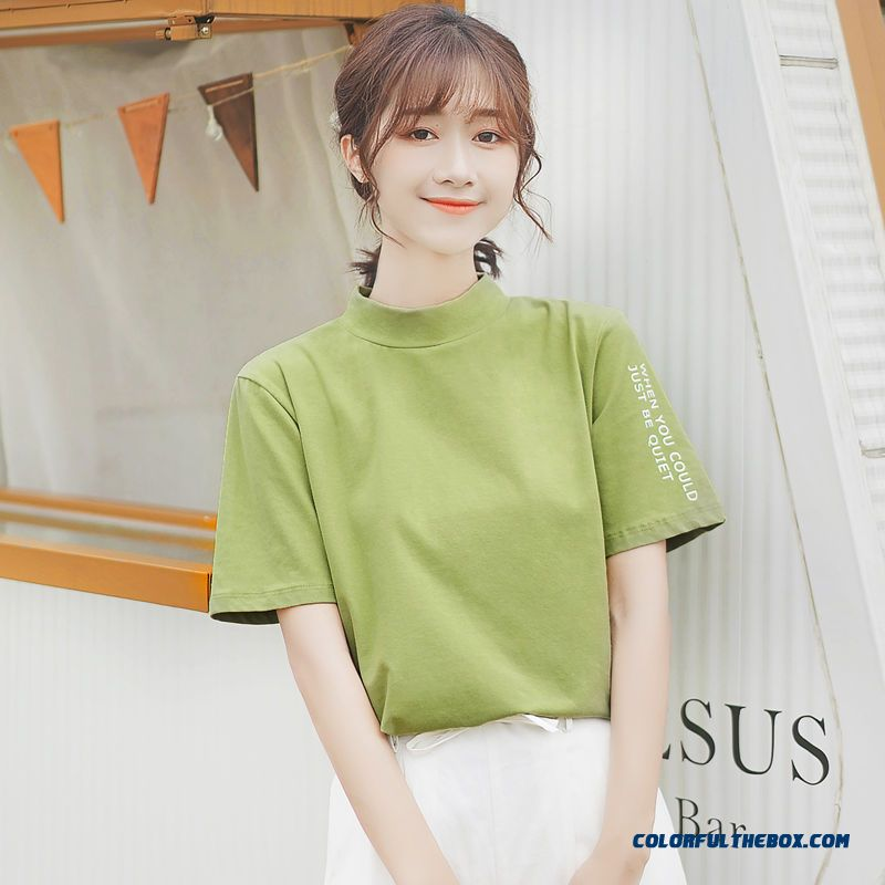 T-shirt Pure New Coat 2019 Green Student Half Sleeve Letter Women's Summer T-shirt Short Sleeve