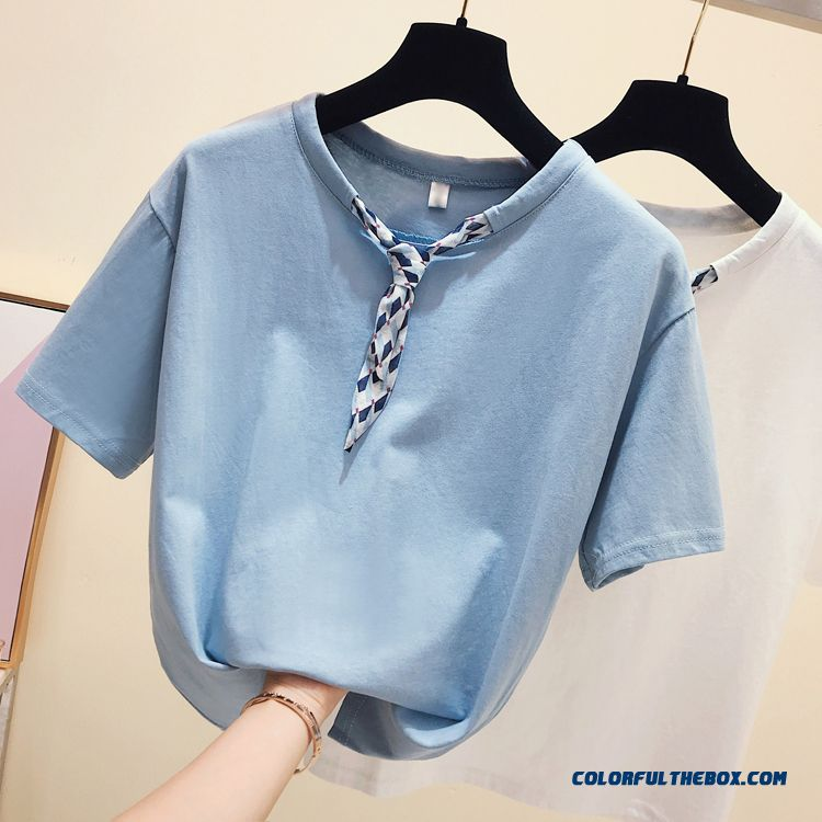 T-shirt Pure New Women's Chalaza Short Sleeve 2019 Europe Coat Cotton Loose Round Neck Summer T-shirt Half Sleeve Bow Blue