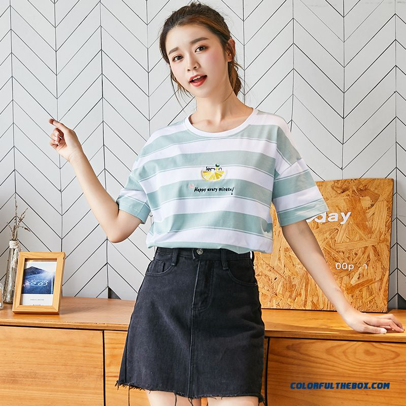 T-shirt Pure Women's Summer Cotton New Europe Loose 2019 Stripes White Bottoming Shirt Student Simple All-match Short Sleeve Trend