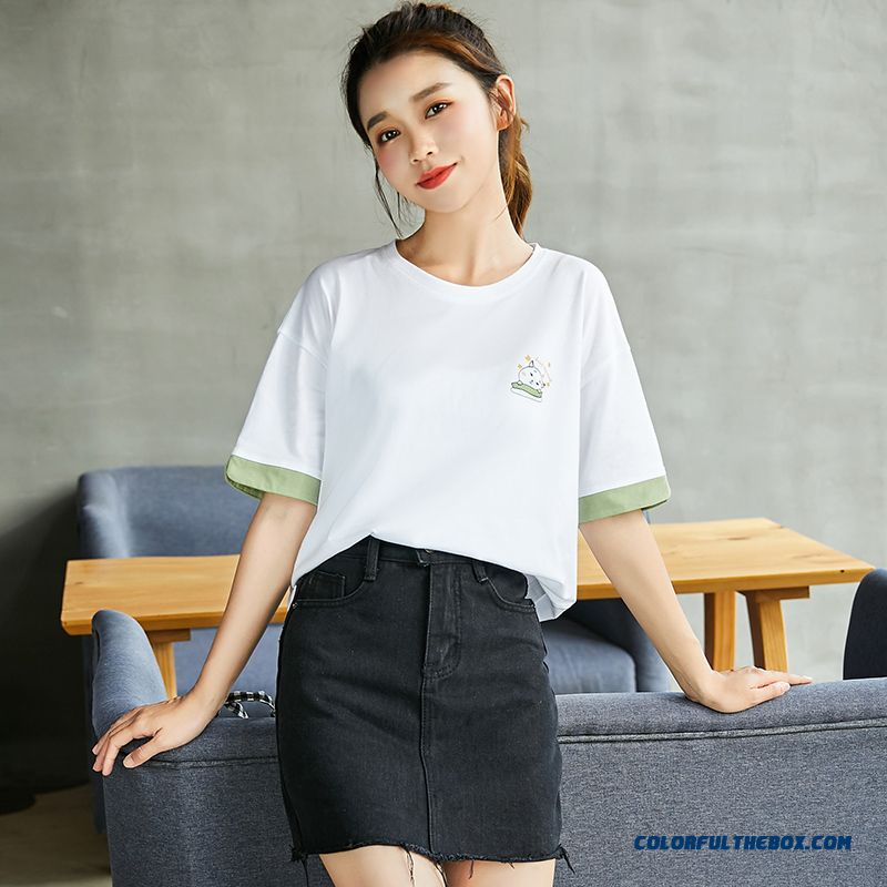 T-shirt Short Sleeve Europe Summer All-match New Student Loose Half Sleeve White Ultra 2019 Women's Coat Trend