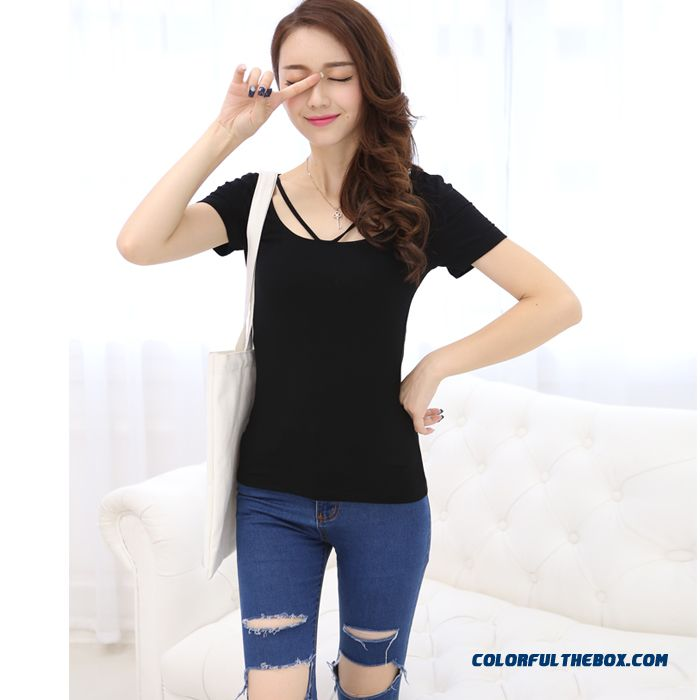 T-shirt Short-sleeved Women Summer Slim Solid Color Large Size Sexy - more images 4