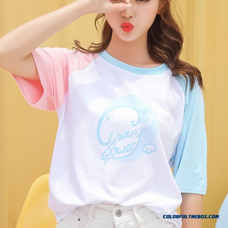 T-shirt Student 2019 Short Sleeve Coat New Women's Girl Summer Fresh Trend Loose All-match Blue Sweet Europe