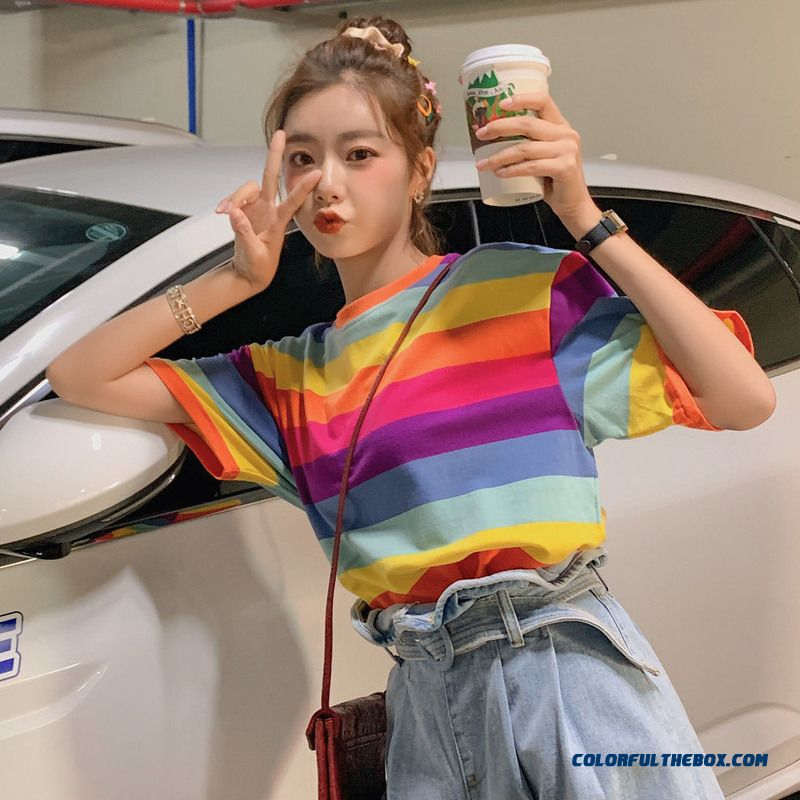 T-shirt Summer Coat Girl Stripes Trend Short Sleeve Color New Loose Women's 2019 T-shirt