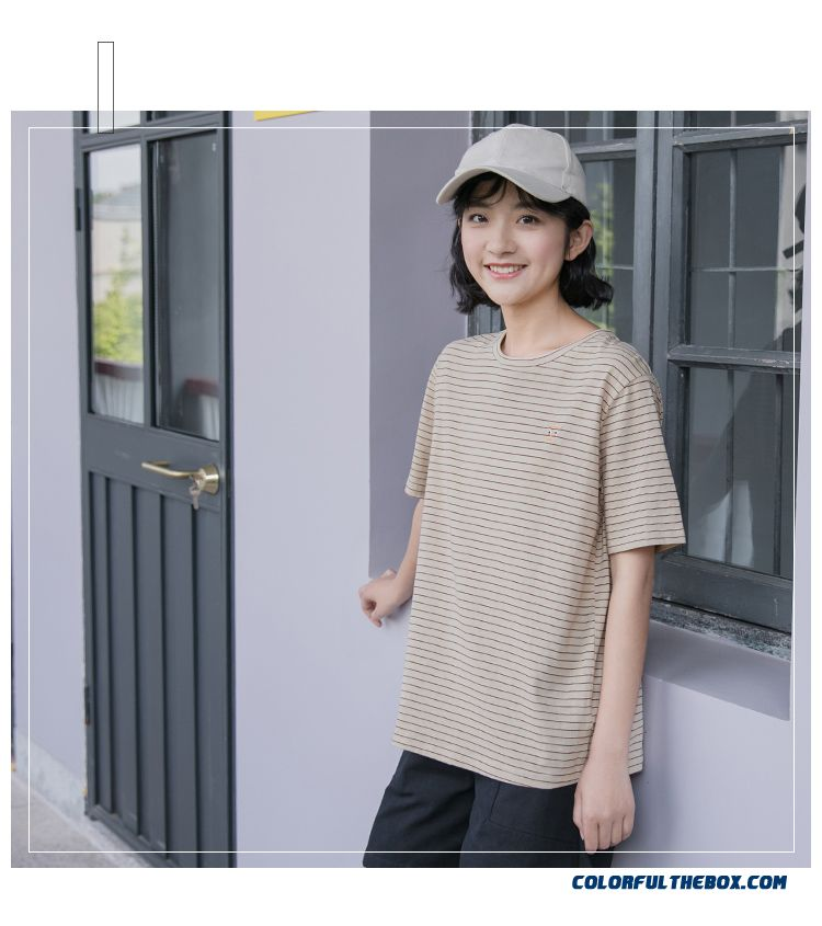 T-shirt Summer T-shirt Loose Stripes Short Sleeve Coat Student Europe Women's Girl