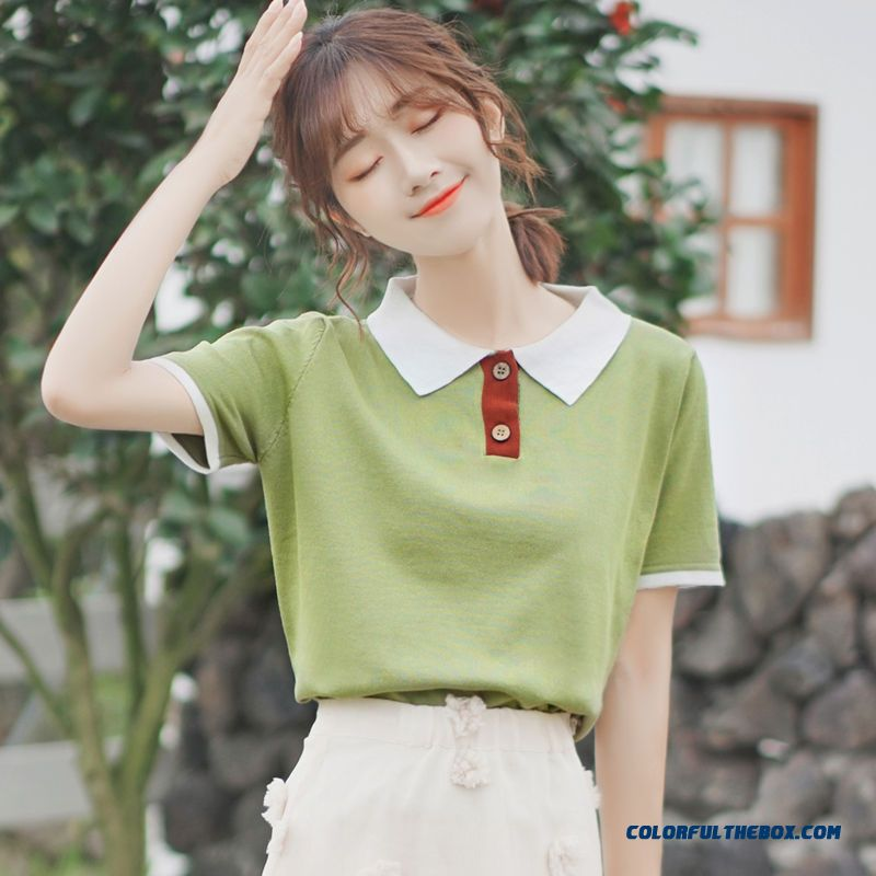 T-shirt T-shirt Polo Short Sleeve Women's Student New Summer Knitwear Sweater Lapel Loose Green Coat 2019