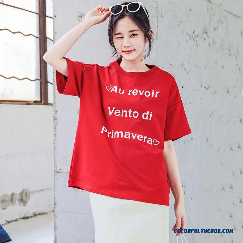 T-shirt T-shirt Short Sleeve Women's Pure New Red 2019 Loose Cotton Trend Europe Half Sleeve All-match Summer Ultra