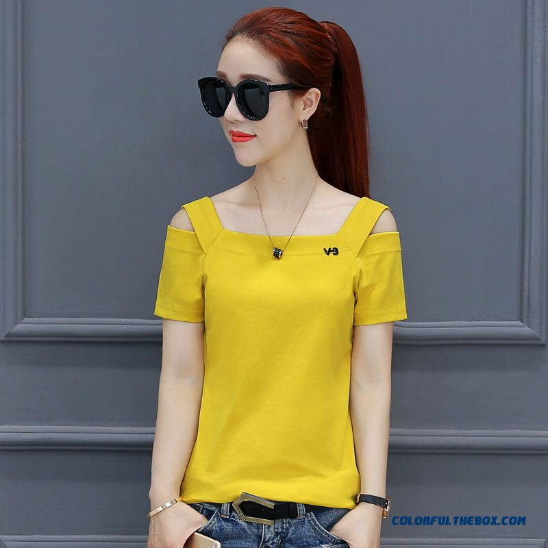 T-shirt T-shirt Yellow Summer Thin Coat Bottoming Shirt Women's New Strapless Cotton Pure Loose Europe 2019 Short Sleeve Trend