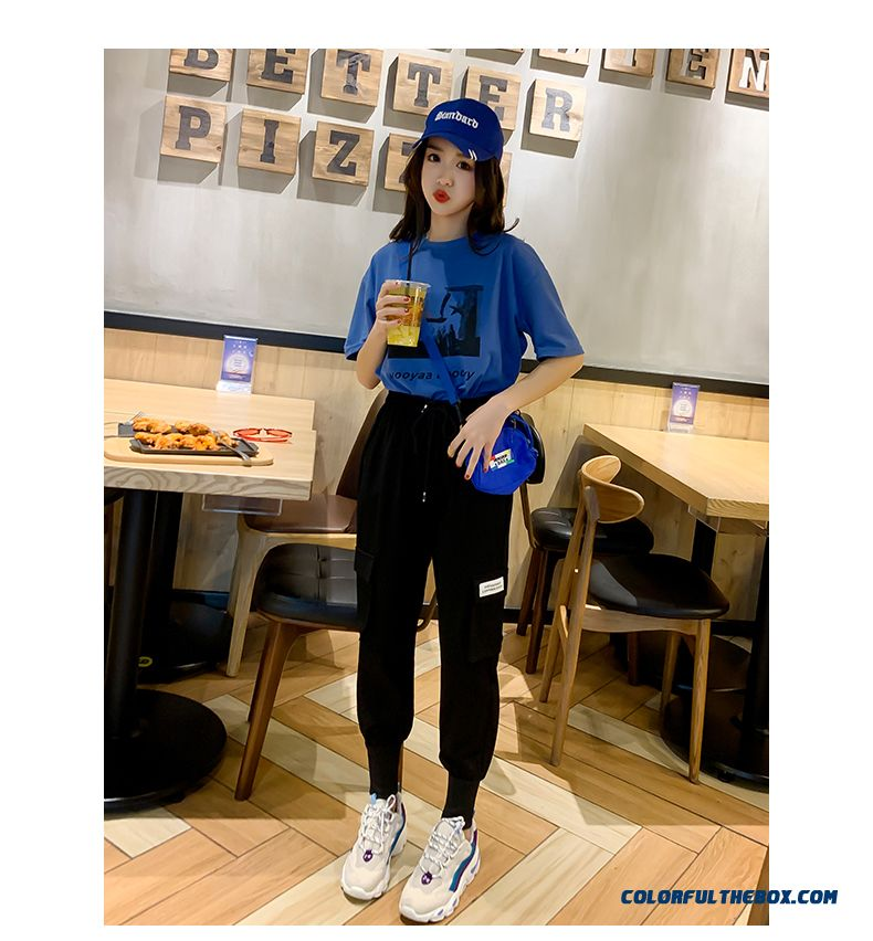 T-shirt Trend Women's T-shirt Blue Europe Loose New Short Sleeve Student Summer All-match 2019 Coat