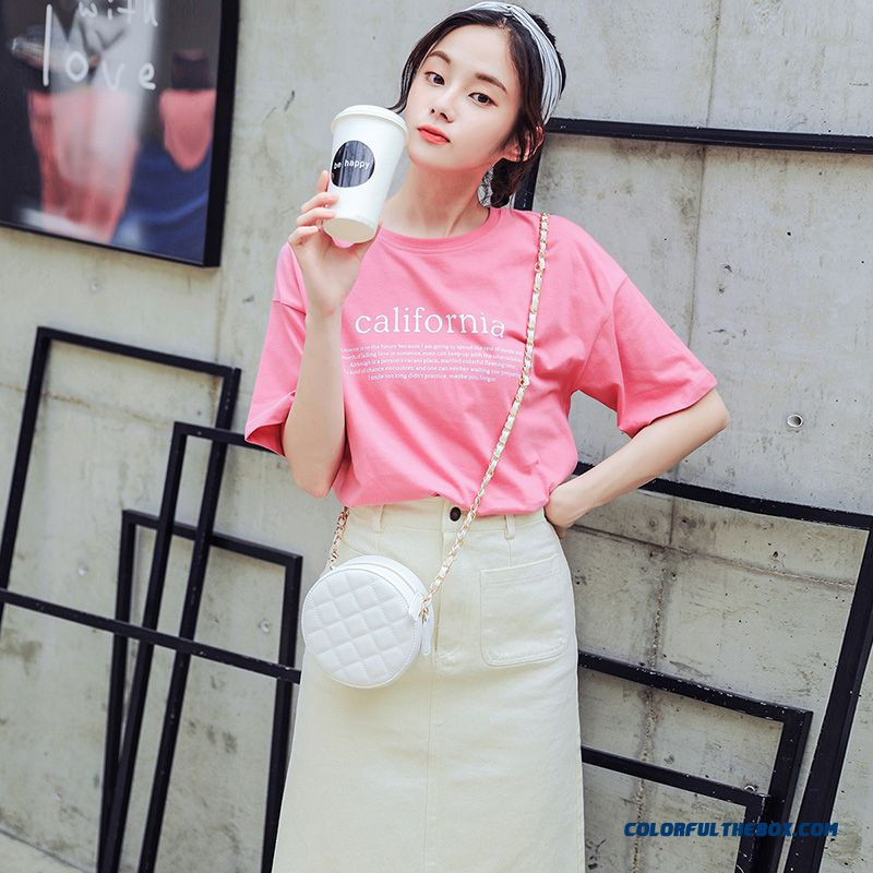 T-shirt Trend Women's T-shirt Red Europe Pink Short Sleeve Student Loose Summer Coat Half Sleeve