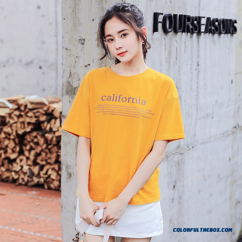 T-shirt Ultra New Cotton Summer T-shirt Short Sleeve Trend Yellow Student Europe 2019 Pure Women's Coat Half Sleeve Loose