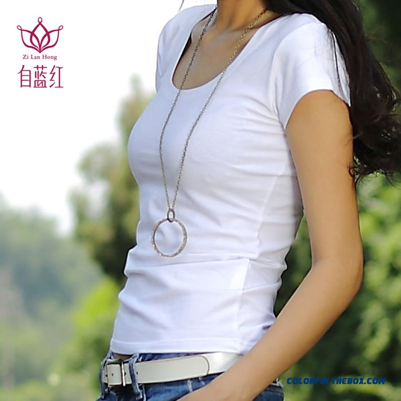 T-shirt Women Cotton Solid Color Summer Slim Crew Neck Skinny Tide