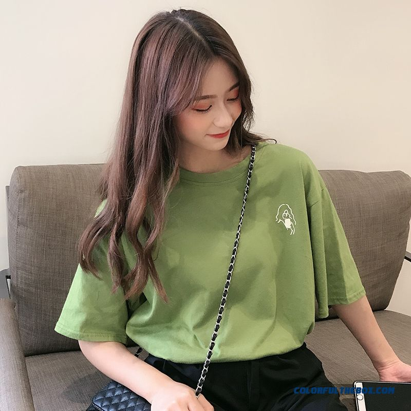 T-shirt Women's Coat T-shirt Loose Ultra Red Trend Green Short Sleeve Summer
