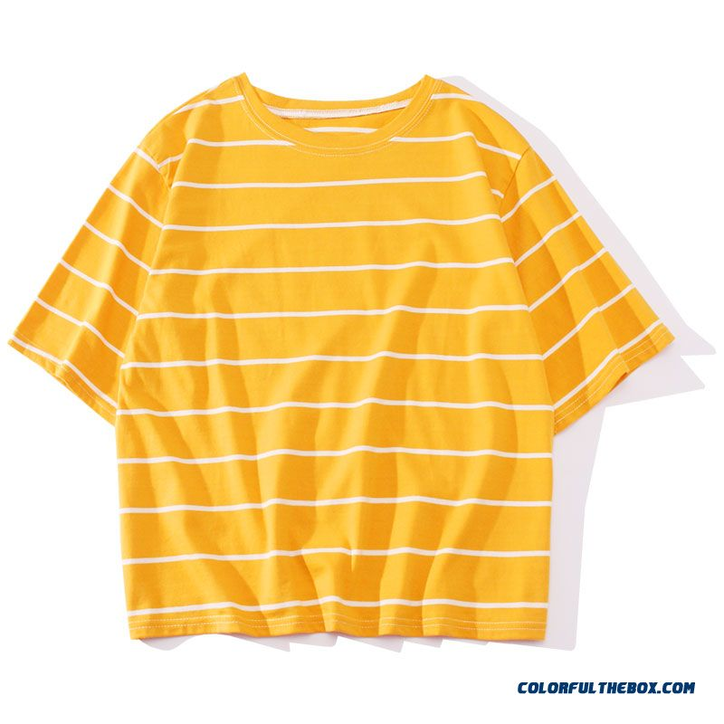 T-shirt Women's Student 2019 Coat Sleeve Europe Trend Stripes All-match New Short Sleeve Yellow T-shirt Loose