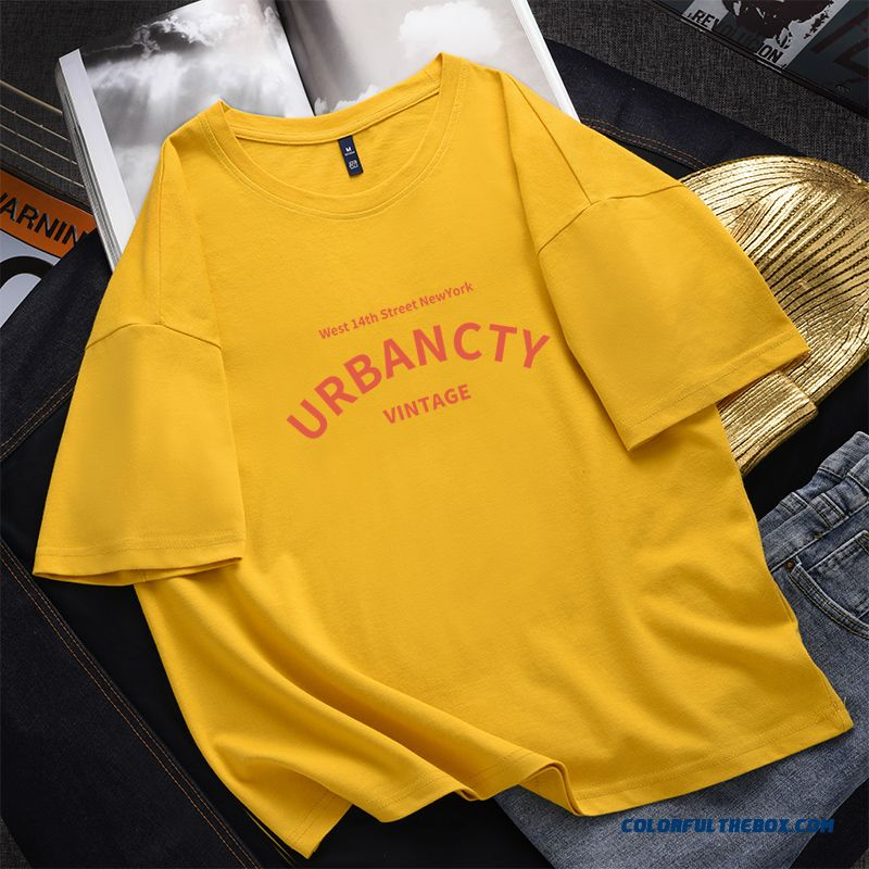 T-shirt Women's Student Yellow White Cotton Loose Pure Short Sleeve T-shirt Europe