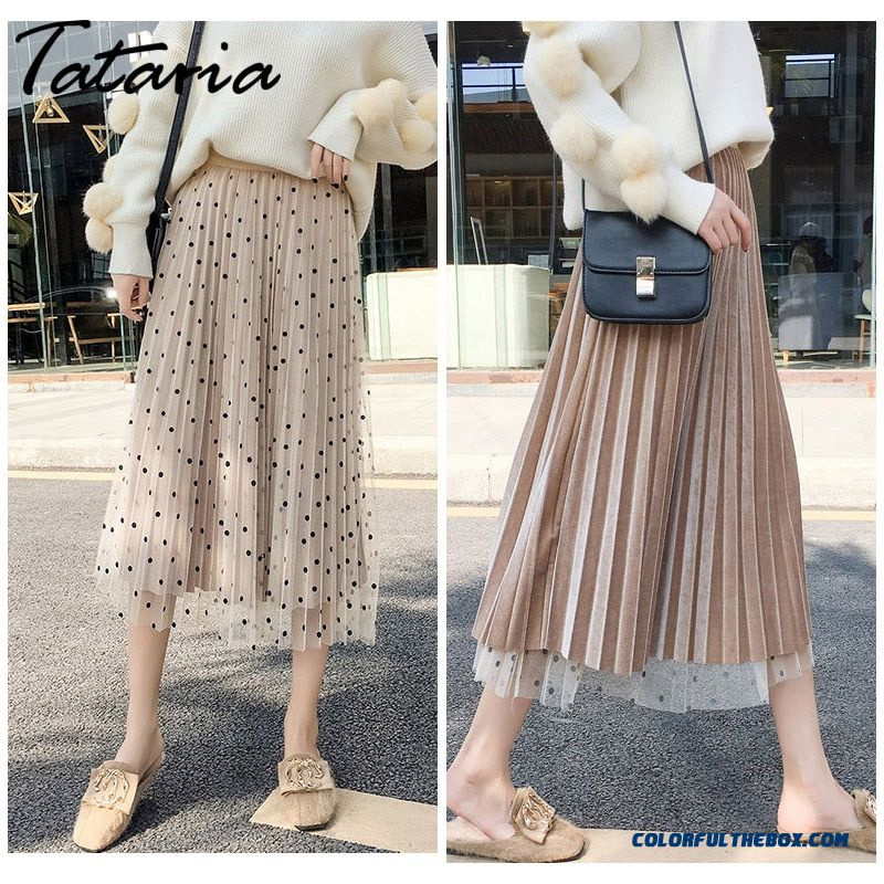 Tataria Polka Dot Pleated Skirt 2019 Velvet High Waisted Long Skirts Womens Maxi Skirt Women School Skirt Beach Female Skirts
