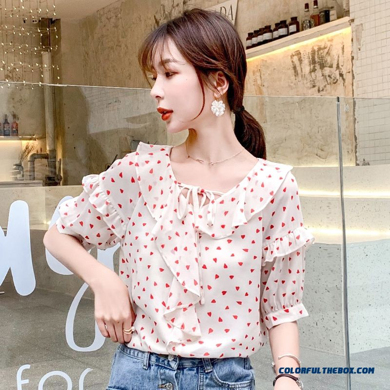Temperament Chiffon Printing Flower Coat Shirt 2019 Short Sleeve New Women's Summer