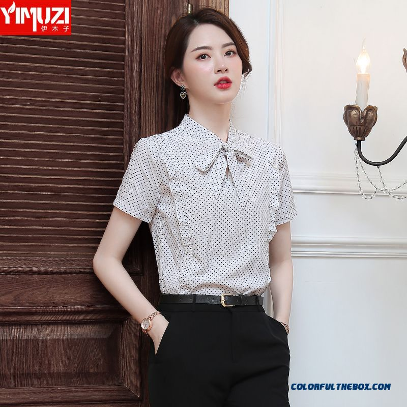 Temperament Short Sleeve Shirt Chiffon Bow Women's Professional Summer Chalaza White