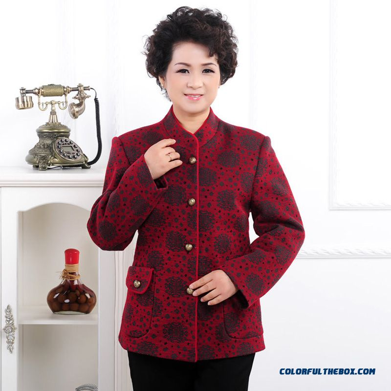 The Elderly Women Grandmother Wool Coat Tang Suit Red