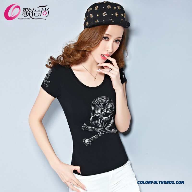 The Finest Quality Diamond Skull Printed Slim Crew Neck T-shirt Tide Women - more images 1