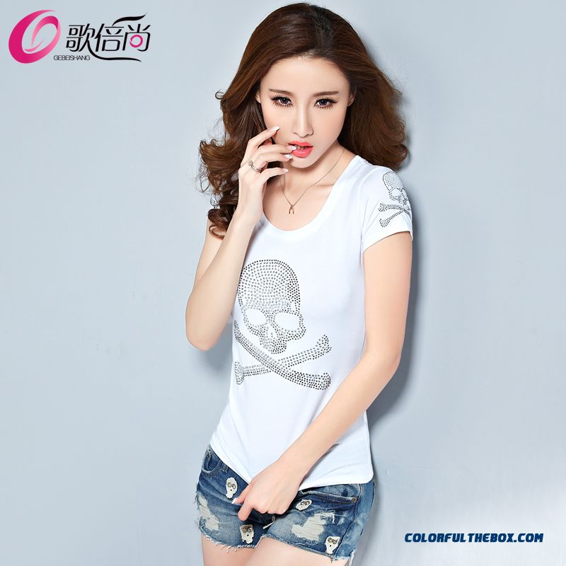 The Finest Quality Diamond Skull Printed Slim Crew Neck T-shirt Tide Women - more images 2
