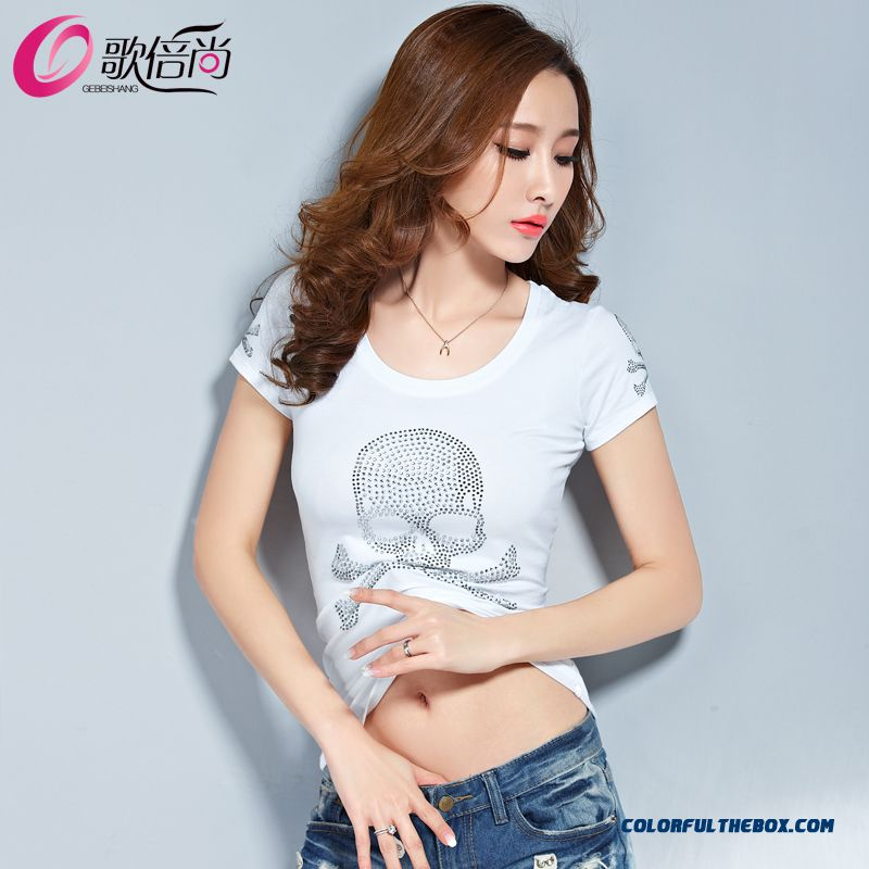 The Finest Quality Diamond Skull Printed Slim Crew Neck T-shirt Tide Women - more images 3