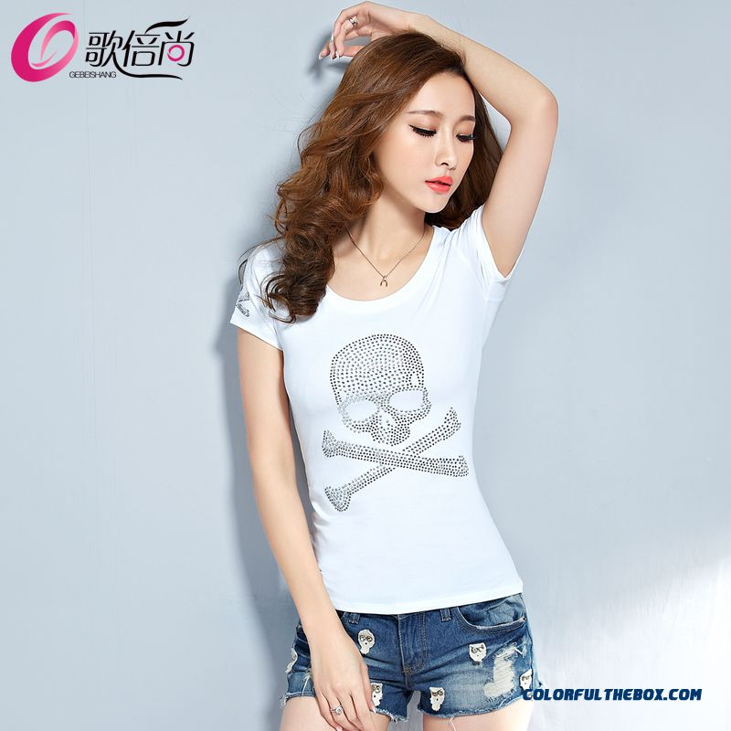 The Finest Quality Diamond Skull Printed Slim Crew Neck T-shirt Tide Women - more images 4