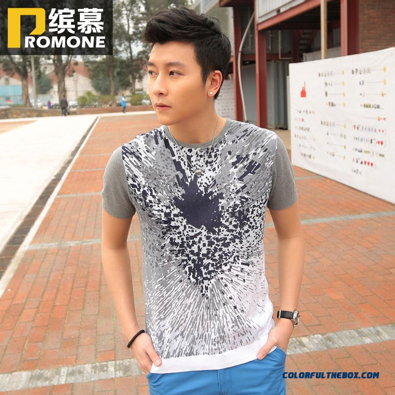The Lastest Summer New Short-sleeved Tees Printing Crew Neck Knit