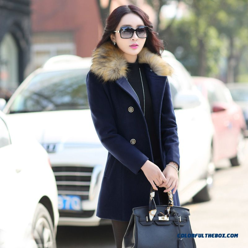 The Latest Fashion Winter Women Fur Collar Woolen Coats Blue Medium Style - more images 1