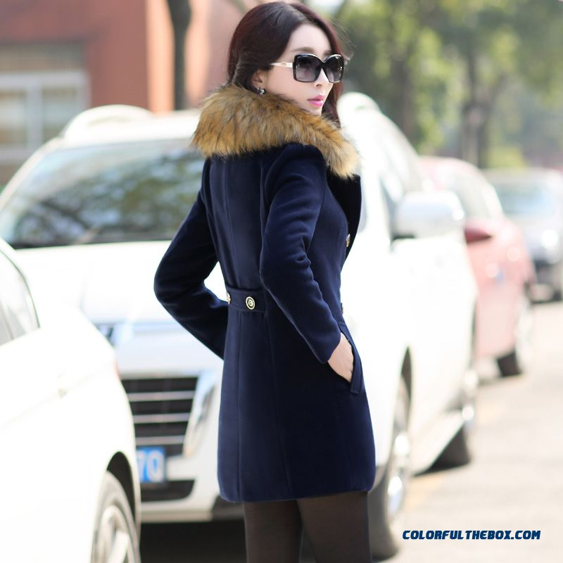 The Latest Fashion Winter Women Fur Collar Woolen Coats Blue Medium Style - more images 2