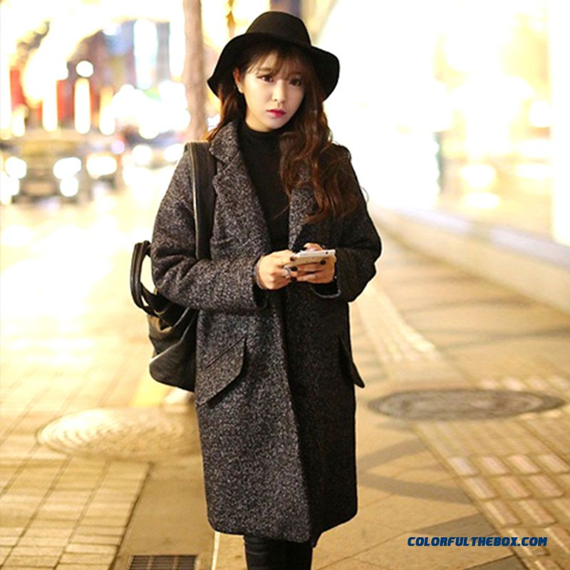 The Latest Fashion Winter Women Wear Woolen Coats Grey Thicken Large Size Long