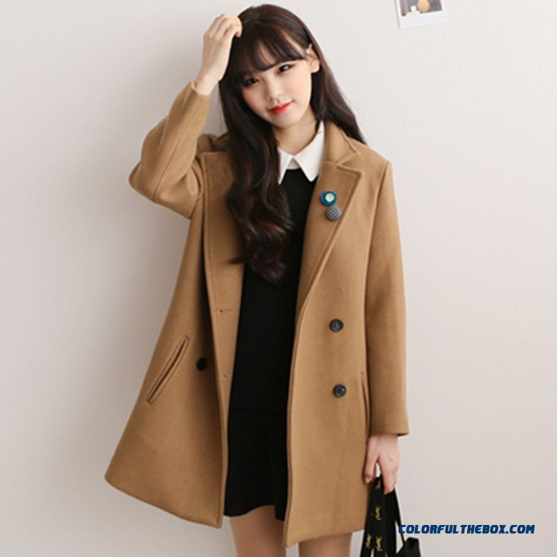 b61803d9 ... The Latest Fashion Women Wear Double-breasted Medium Style Girls Woolen  Coats - more images ...