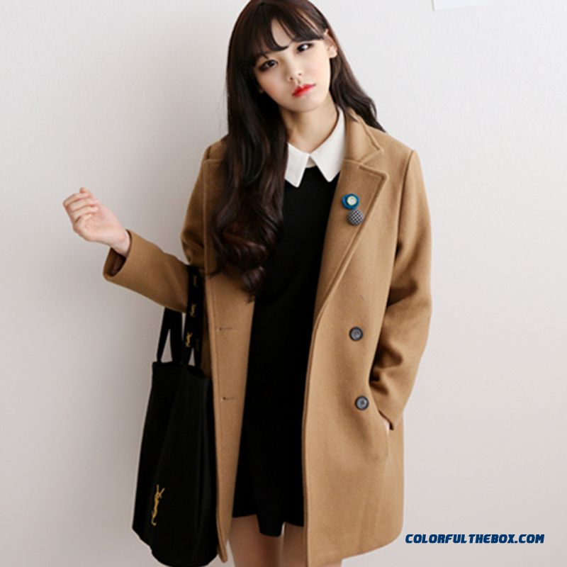 66bc3a25 The Latest Fashion Women Wear Double-breasted Medium Style Girls Woolen  Coats ...