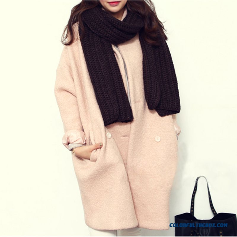 The Latest Fashion Women Wear Long-sleeved Mantle Pink Red Woolen Coats